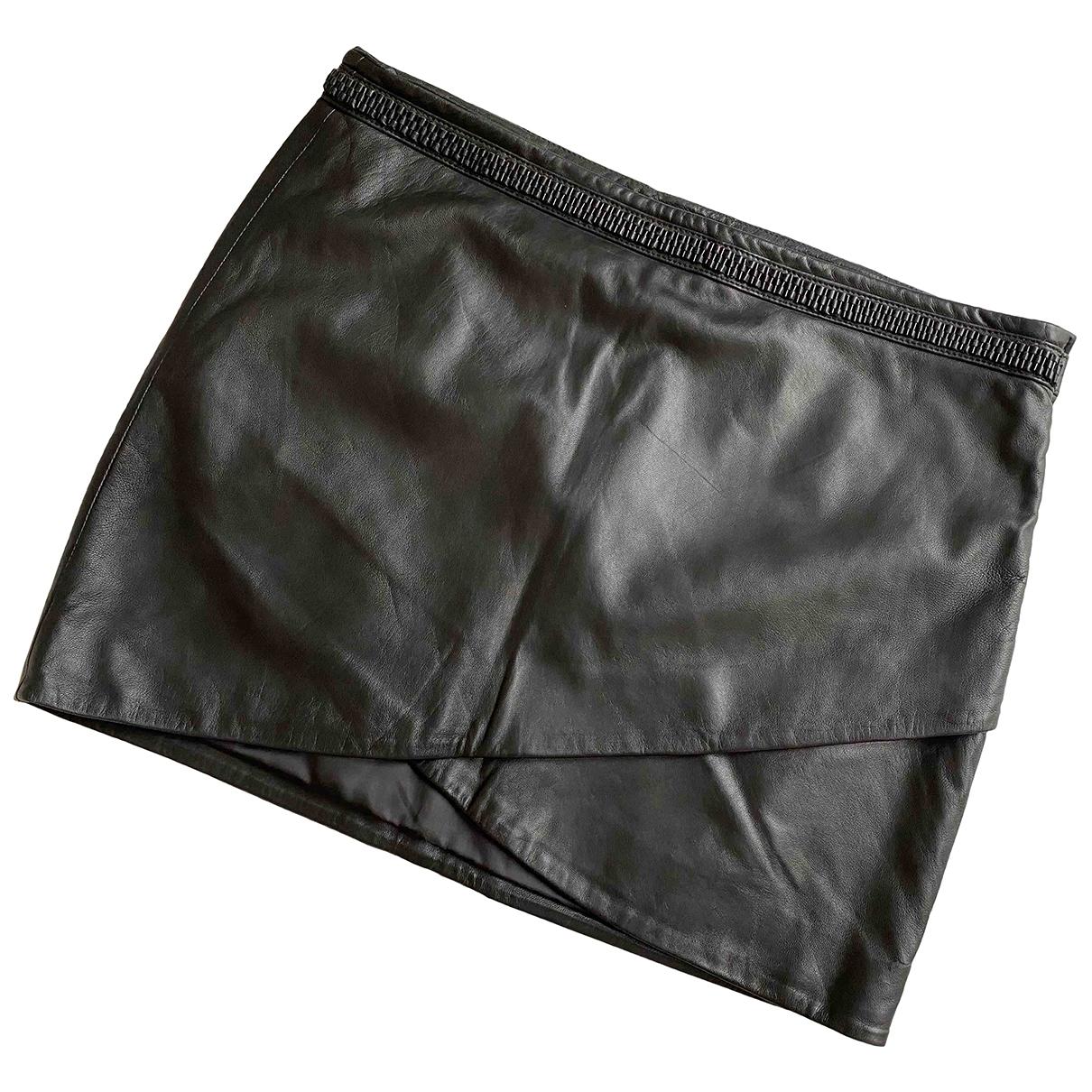 Ikks \N Black Leather skirt for Women 40 FR