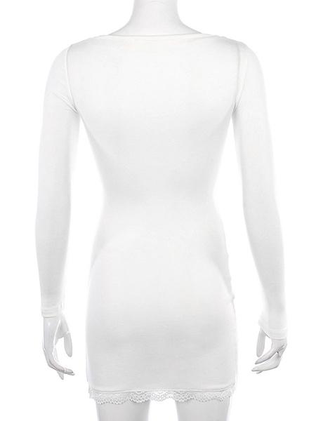 Milanoo Bodycon Dresses White Square Neck Lace Long Sleeves Split Casual Pencil Dress