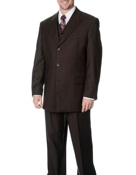 Caravelli Men's Single Breasted Brown 3-piece Vested Classic Fit Suit