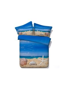 Starfish and Shell Printed 3D 4-Piece Bedding Sets/Duvet Covers