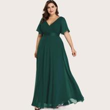 Chiffon Kleid mit Flatteraermeln und Falten