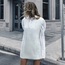 Solid Cable Knit Longline Sweater Vest