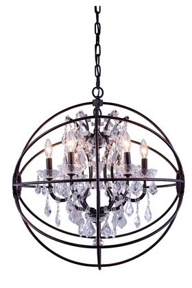 1130D25DB/RC 1130 Geneva Collection Pendent Lamp D:25 H:27.5 Lt:6 Dark Bronze Finish (Royal Cut