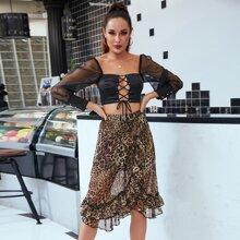 DKRX Layered Ruffle Trim Leopard Chiffon Skirt