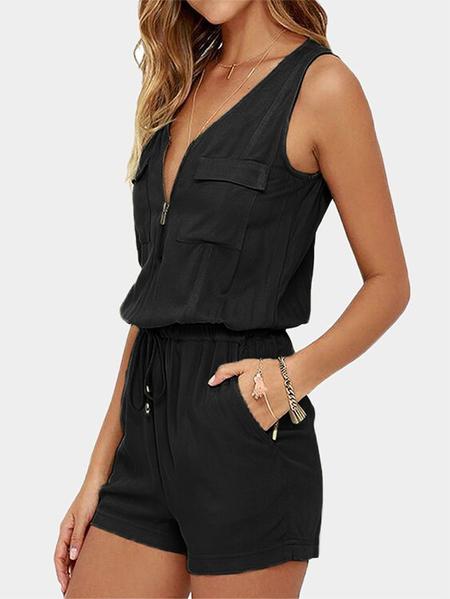 YOINS Black Zip Front Design V-neck Playsuit
