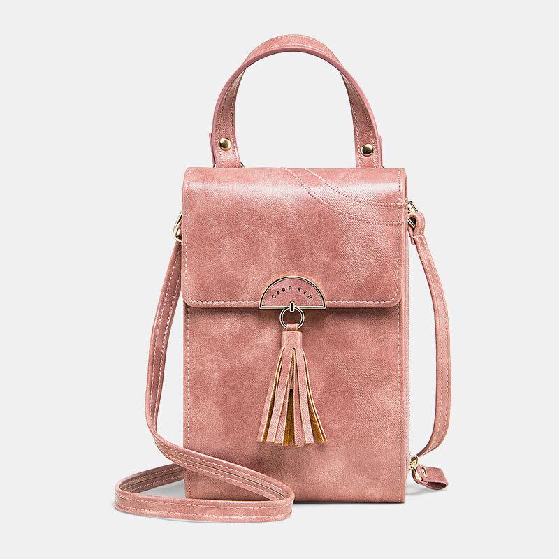 Women 4 Card Slots Tassel Phone Bag Crossbody Bag