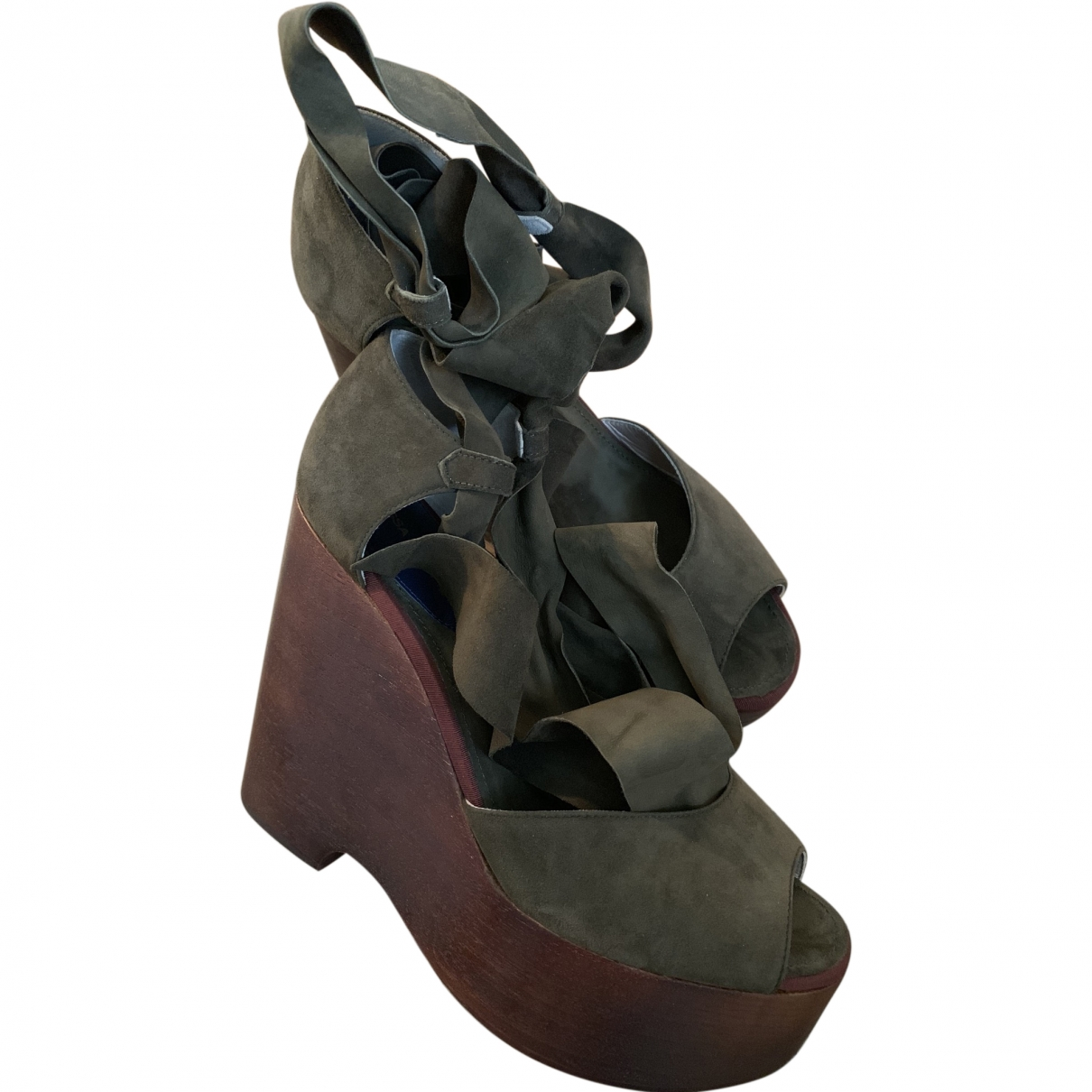 Vanessa Seward \N Khaki Leather Sandals for Women 39 EU