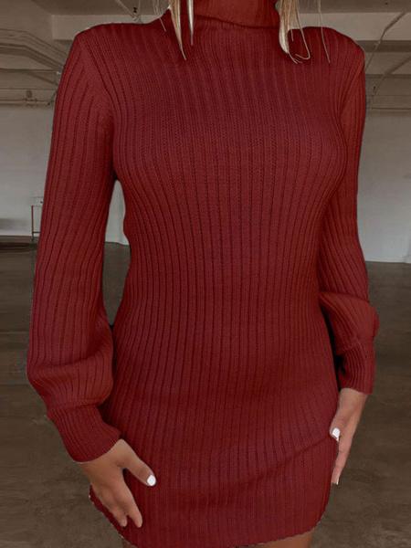 Milanoo Knitted Sweater Dress Long Sleeve Turtleneck Shaping Sweater Dress