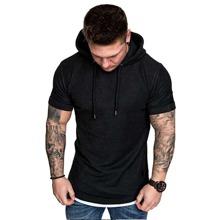 T-Shirt mit Kontrast Bindung und Kordelzug und Kapuze