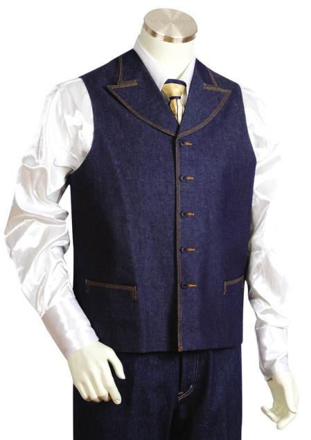 Mens Dual Pocket Denim Blue 2pc Zoot Suit Vest