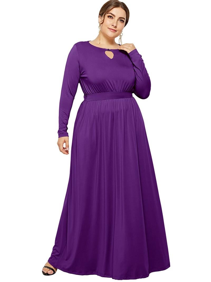 Ericdress Floor-Length Long Sleeve PlusSize A-Line Dress