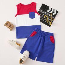 Toddler Boys Cut And Sew Tank Top & Shorts