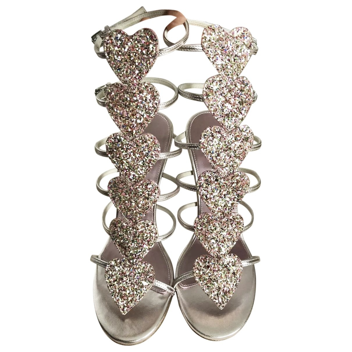 Giambattista Valli X H&m \N Pink Leather Sandals for Women 41 EU