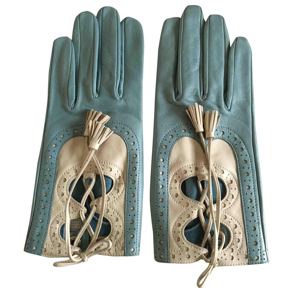 Hermès \N Blue Leather Gloves for Women 7 Inches