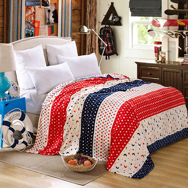 Polka Dot Stars and Moon Printed Soft Flannel Blanket