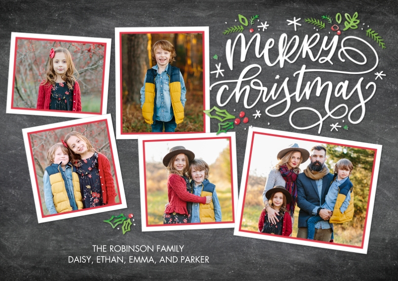Christmas Photo Cards 5x7 Cards, Premium Cardstock 120lb, Card & Stationery -Christmas Red Frames by Tumbalina