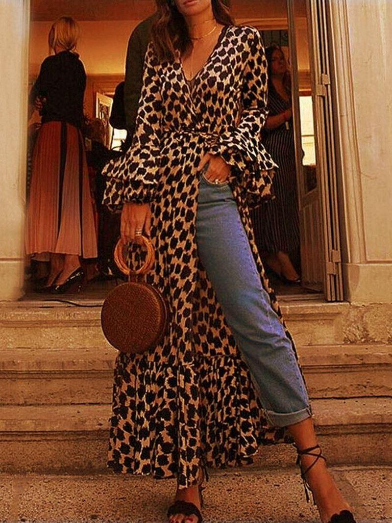 Ericdress Ankle-Length Split Long Sleeve Pullover Leopard Dress