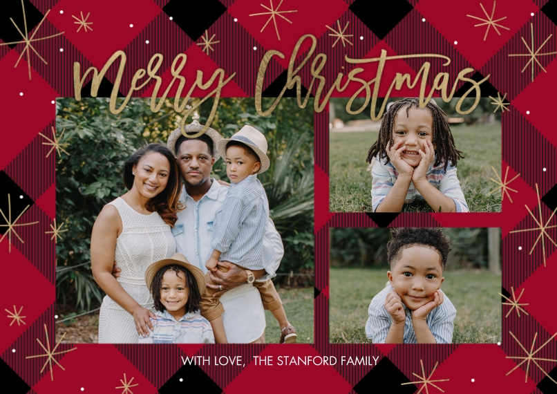 Christmas Photo Cards 5x7 Cards, Premium Cardstock 120lb, Card & Stationery -Christmas Stars Rustic by Tumbalina