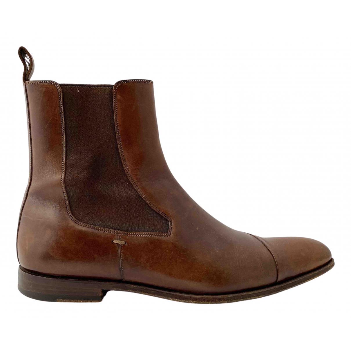 Santoni \N Stiefel in  Braun Leder