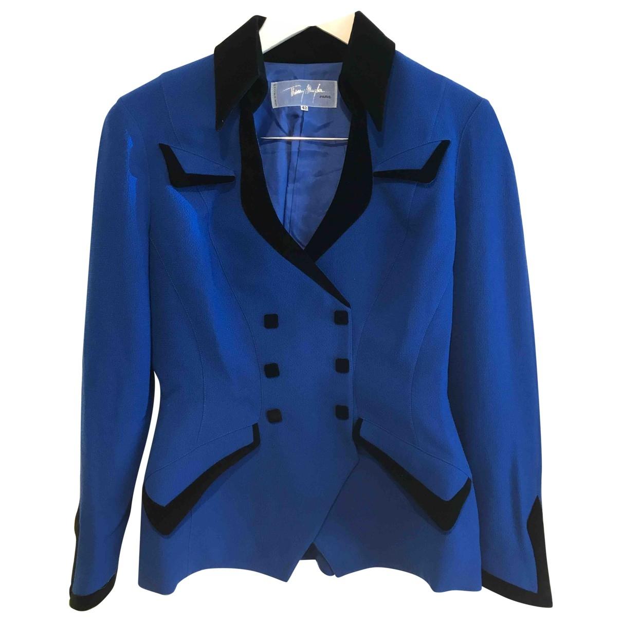 Thierry Mugler \N Blue Wool jacket for Women 42 FR