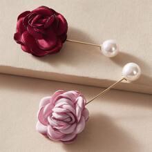 2pcs Flower & Faux Pearl Decor Brooch