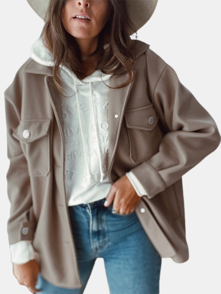 Casual Pockets Long Sleeve Woolen Engineer Plus Size Coat