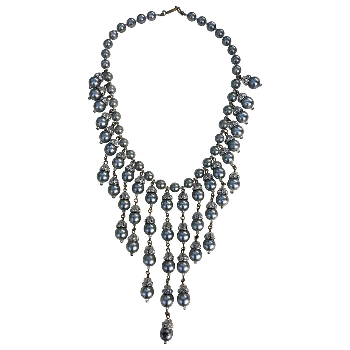 Non Signé / Unsigned Nacre Grey Pearls necklace for Women N