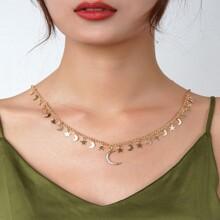 Star & Moon Decor Tassel Necklace