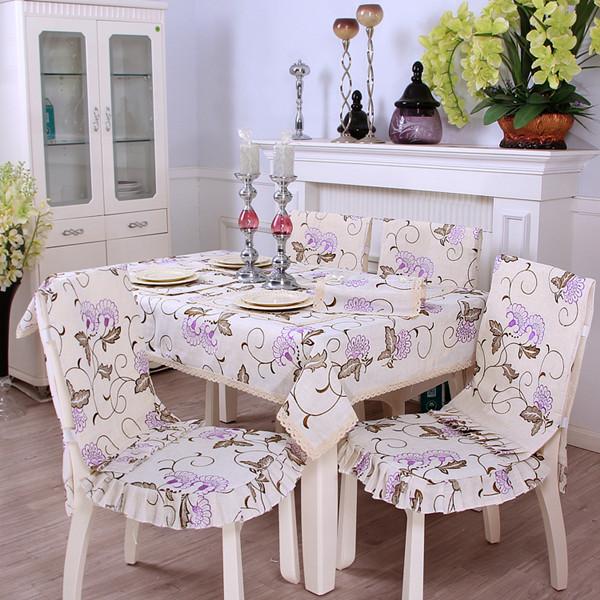 Elegant Polyester Fibre Purple Flower Pattern Decorative Chair Covers