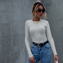 Solid Cable Knit Round Neck Sweater
