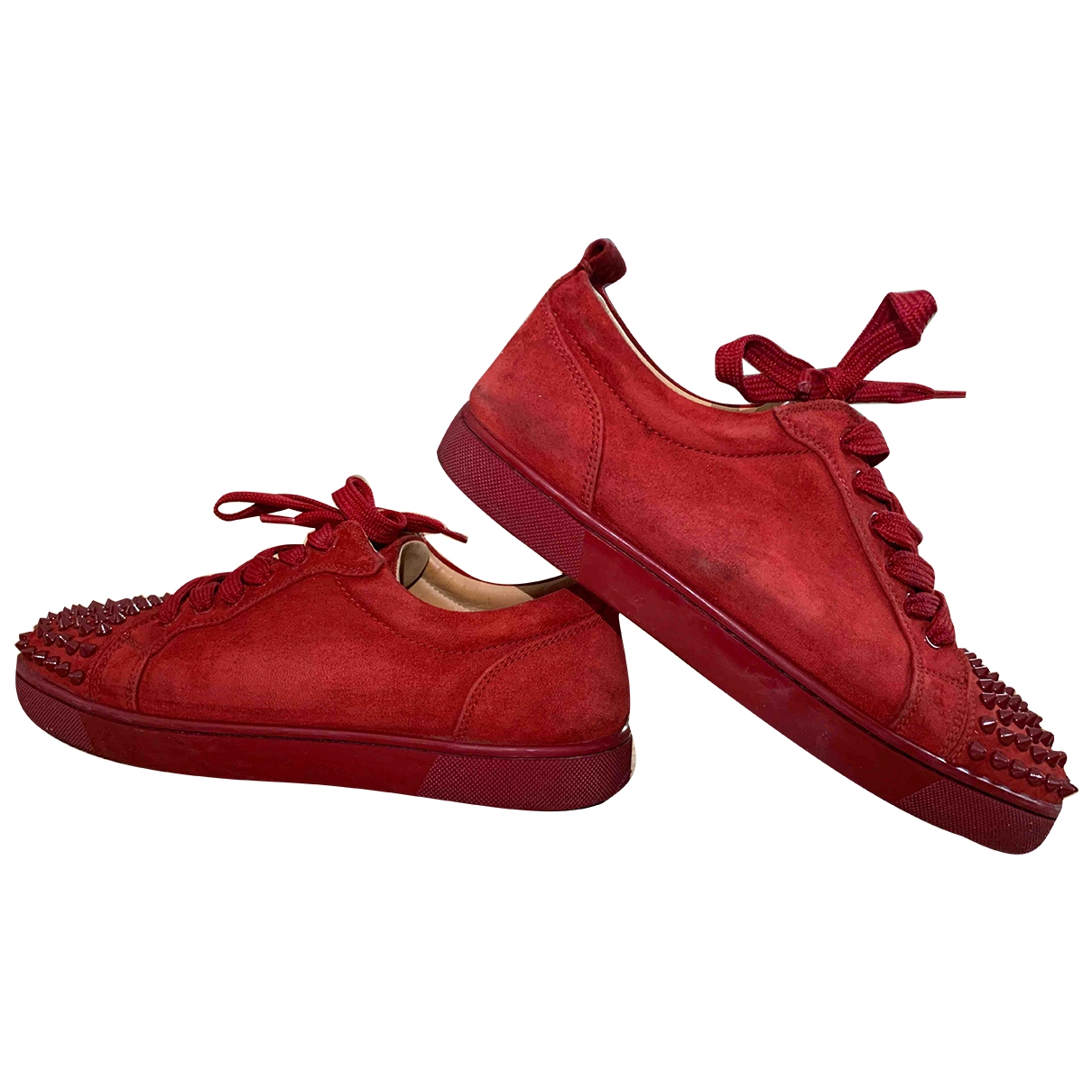 Christian Louboutin Louis junior spike Red Suede Trainers for Men 41 EU