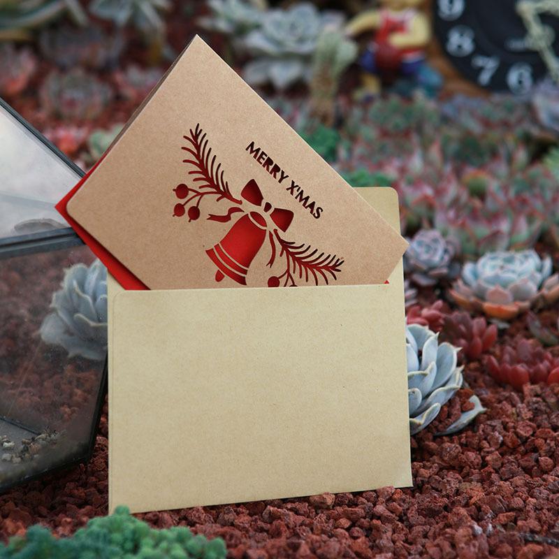 Minimalistic Christmas Elements Kraft Paper Greeting Card