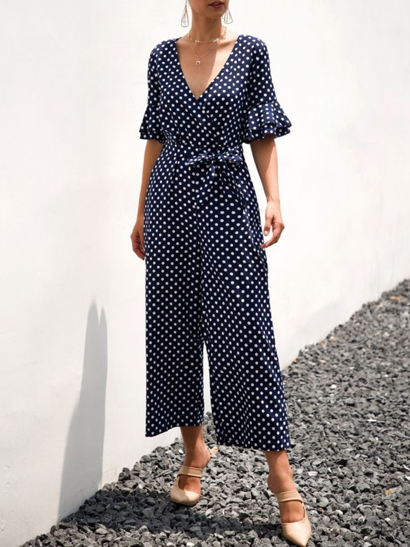 Ericdress Polka Dots Mid-Calf Wide Legs Loose Jumpsuit