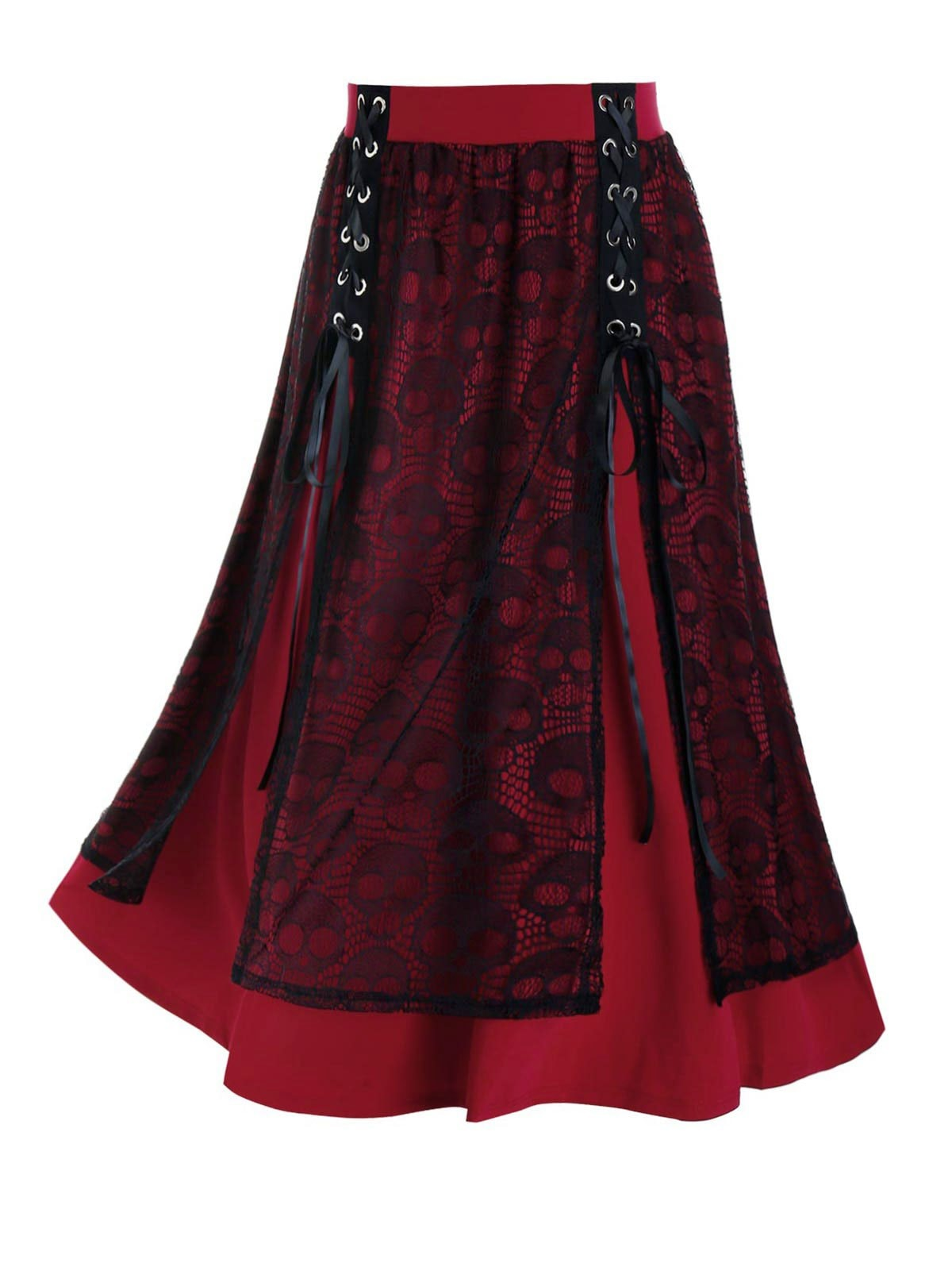 Plus Size Lace Skull Slit Grommet Lace-up Midi Skirt