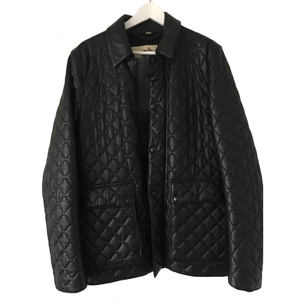Burberry \N Black Leather jacket  for Men 48 IT