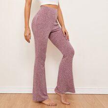Flare Leg Rib-knit Pants
