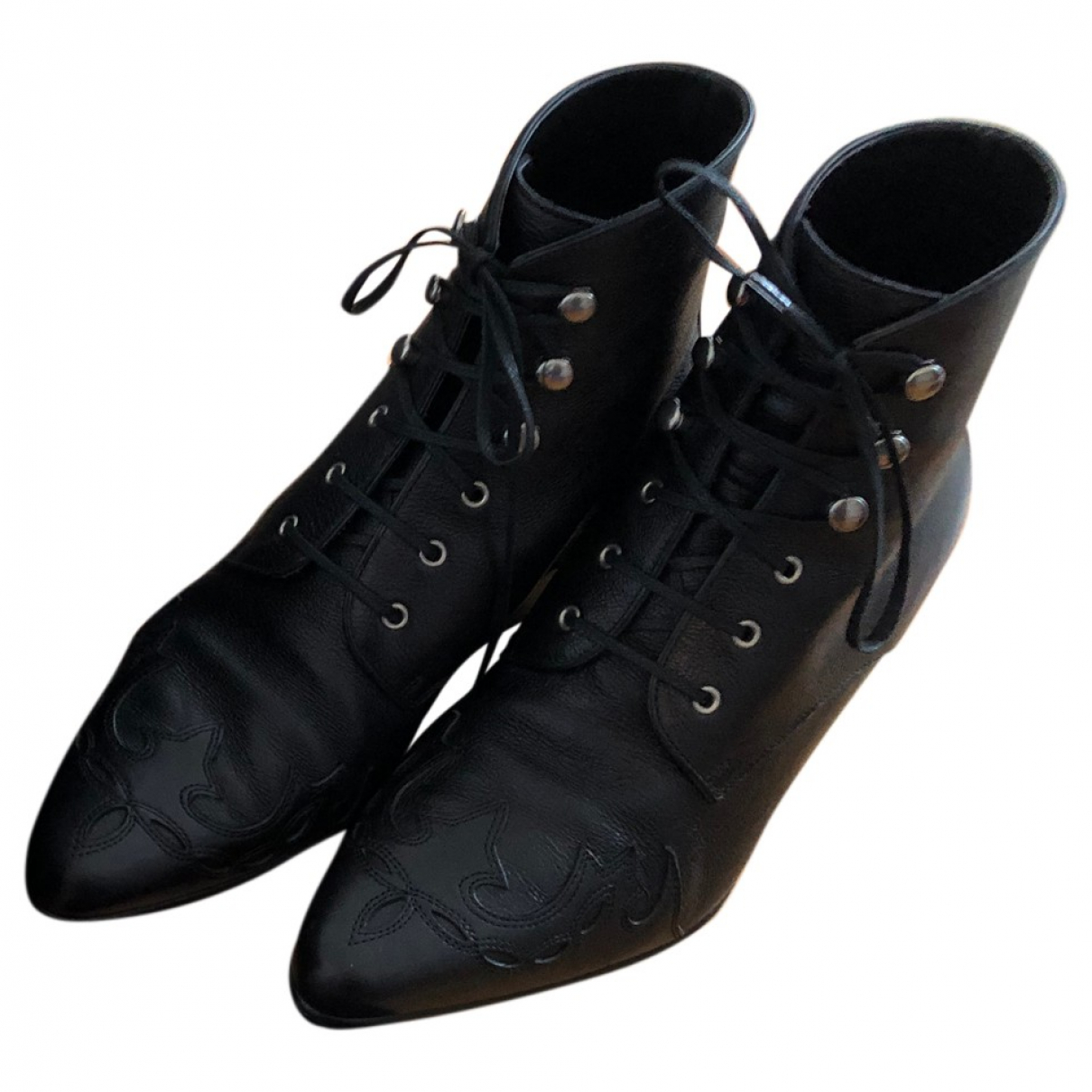 Saint Laurent - Boots   pour femme en cuir - noir
