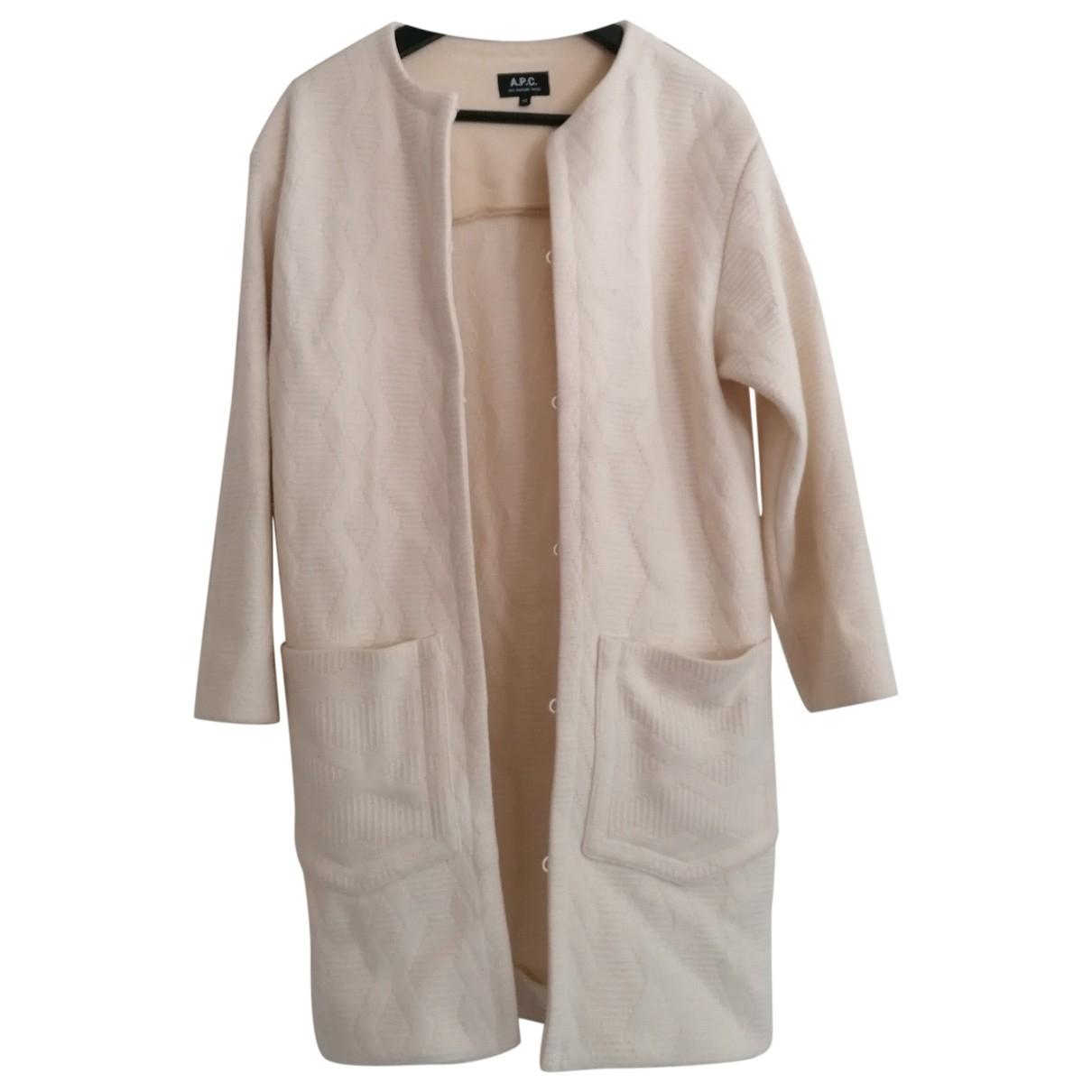Apc - Manteau   pour femme en laine - blanc