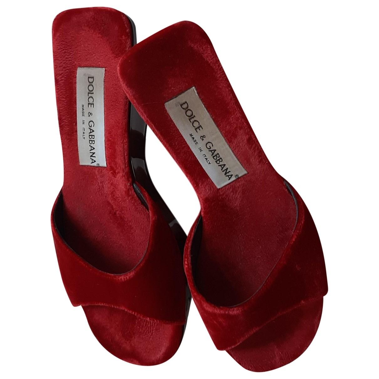 Dolce & Gabbana \N Red Velvet Sandals for Women 37.5 EU