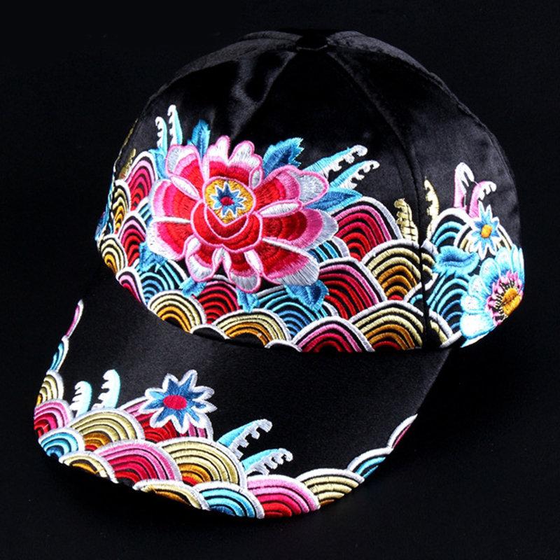 Womens Flower Embroidery Sun Hat Vintage Breathable Adjustable Summer Baseball Cap