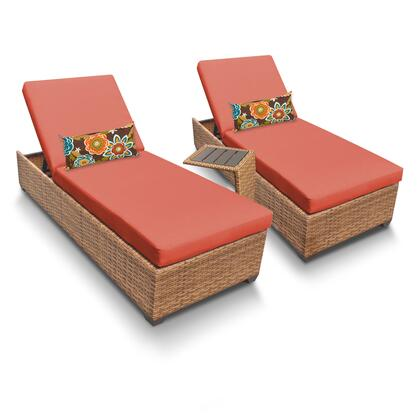 LAGUNA-2x-ST-TANGERINE Laguna Chaise Set of 2 Outdoor Wicker Patio Furniture With Side Table with 2 Covers: Wheat and
