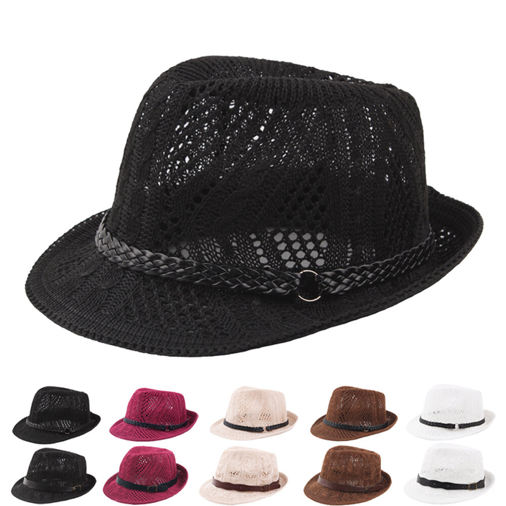 Women Caddice Weave Gridding Breathable Curl Brim Addition Leather Belt Fashion Jazz Hat