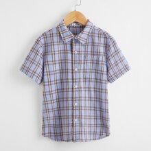 Jungen Hemd mit Taschen Flicken und Karo Muster