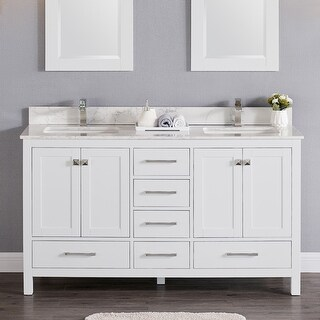Copper Grove Dalat 60-inch Double Sink Bathroom Vanity Set with Marble or Quartz Top (White - Quartz, Without Mirror)