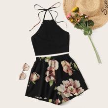 Rib-knit Halter Top and Floral Print Shorts Set