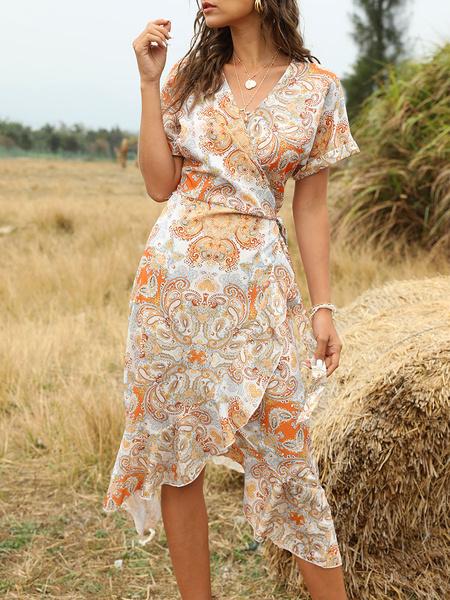 Milanoo Vestido Boho Cuello en V Manga corta Estampado floral Vestido de verano con cordones