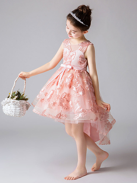 Milanoo Flower Girl Dresses Jewel Neck Sleeveless Embroidered Kids Social Party Dresses
