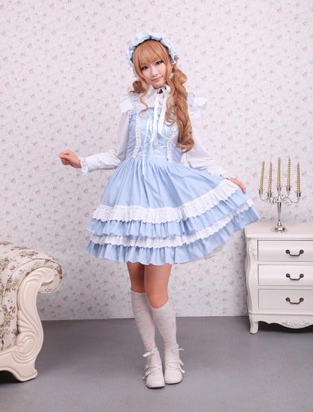Milanoo Cotton Blue Lace Front Ties Sweet Lolita Dress