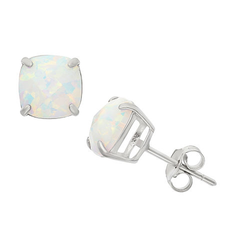 Lab Created White Opal Sterling Silver 8mm Stud Earrings, One Size , No Color Family