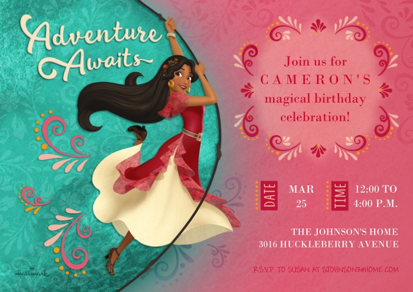 Kids Birthday Party Invites Flat Glossy Photo Paper Cards with Envelopes, 5x7, Card & Stationery -Adventure Awaits - Elena of Avalor